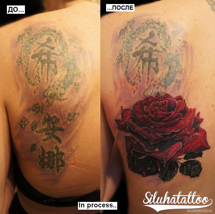 Роза в процессе с лого